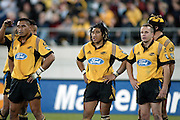 3 May 2003, Rugby Union, Super 12, Hurricanes vs Brumbies, WestpacTrust Stadium, Wellington, New Zealand.<br />Hurricanes, Jerry Collins (L), Ma'a Nonu and Christian Cullen. Brumbies won 35-27<br />Pic: Sandra Teddy/Photosport