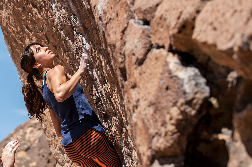 Sarah bouldering near Bishop CA.