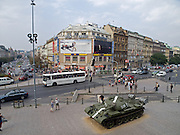 "Blick auf den oberen Wenzelsplatz in Prag. Der Panzer gehört zur Ausstellung ""... und die Panzer kamen"" über die August-Invasion 1968 der Truppen des Warschauer Paktes.<br /> <br /> The upper Wenceslas Square in Prague. The tank belongs to an open air exhibition about the soviet invasion 1968."