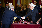 Rome dec 21th 2015, swearing-in ceremony of  new Constitutional Court members. In the picture Augusto Barbera, Sergio Mattarella