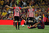 Barcelona´s Luis Suarez (R) and Athletic de Bilbao´s Unai Bustinza during 2014-15 Copa del Rey final match between Barcelona and Athletic de Bilbao at Camp Nou stadium in Barcelona, Spain. May 30, 2015. (ALTERPHOTOS/Victor Blanco)