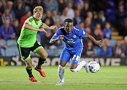 Souleymane Coulibaly of Peterborough United in action with James McEveley of Sheffield United - Mandatory byline: Joe Dent/JMP - 07966386802 - 18/08/2015 - FOOTBALL - ABAX Stadium -Peterborough,England - Peterborough United v Sheffield United - Sky Bet League One
