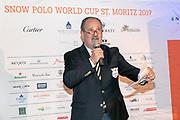 2019, Januari 24. Kulm Hotel, St Moritz. Spelerspresentatie van de Snowpolo World Cup. Op de foto: Reto Gaudenzi