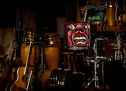 The percussion corner of The Bus Stop Music Cafe at the end of a Steve Katz performance.