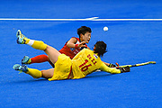 Hyejin Cho of Korea (19) and Zixia Ou of China (16) during the Vitality Hockey Women's World Cup 2018 Pool A match between Korea and China at the Lee Valley Hockey and Tennis Centre, QE Olympic Park, United Kingdom on 29 July 2018. Picture by Martin Cole.