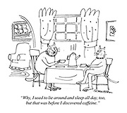 """Why, I used to lie around and sleep all day, too, but that was before I discovered caffeine."" (a Punch cartoon shows two cats enjoying a coffee at the dinner table, seated on chairs)"