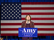 27 DECEMBER 2019 - DES MOINES, IOWA: US Senator AMY KLOBUCHAR (D-MN) talks about her daughter's first role in a Christmas pageant 20 years ago during a campaign rally in Des Moines Friday evening. Sen. Klobuchar is campaigning to be the Democratic nominee for the US Presidency. Friday night she announced that had she kept a campaign promise to visit every one of Iowa's 99 counties. Iowa holds the first selection event of the Presidential election cycle. The Iowa caucuses are Feb. 3, 2020.     PHOTO BY JACK KURTZ