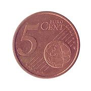 5 Euro Cents copper coin (Spain)
