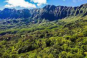 Aerial photograph of the Koolau Mountains, Windward Oahu, Hawaii