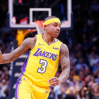09 March 2018: Los Angeles Lakers guard Isaiah Thomas (3) brings the ball up court during the Denver Nuggets125-116 victory over the Los Angeles Lakers, at the Pepsi Center, Denver, Colorado, USA.
