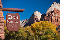 Utah's Zion National Park entry sign with beautiful peak and autumn trees in the background.