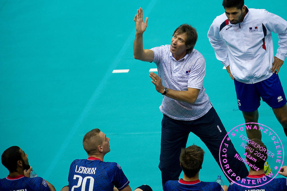Frederic Trouve trainer coach team of France during the 2013 CEV VELUX Volleyball European Championship match between France and Slovakia at Ergo Arena in Gdansk on September 20, 2013.<br /> <br /> Poland, Gdansk, September 20, 2013<br /> <br /> Picture also available in RAW (NEF) or TIFF format on special request.<br /> <br /> For editorial use only. Any commercial or promotional use requires permission.<br /> <br /> Mandatory credit:<br /> Photo by © Adam Nurkiewicz / Mediasport