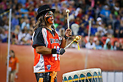 DENVER, CO - JULY 4: JoJo War Drummer sets the tone for the Denver Outlaws during their MLL game against the Boston Cannons at Sports Authority Field at Mile High on July 4, 2015 in Denver, Colorado. (Photo by Marc Piscotty/Getty Images) *** Local Caption *** JoJo War Drummer