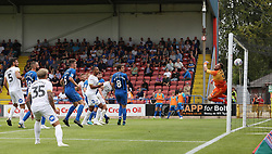 Josh Lillis of Rochdale cant keep out Mark O'Hara of Peterborough United's header which makes it 2-1 - Mandatory by-line: Joe Dent/JMP - 11/08/2018 - FOOTBALL - Crown Oil Arena - Rochdale, England - Rochdale v Peterborough United - Sky Bet League One
