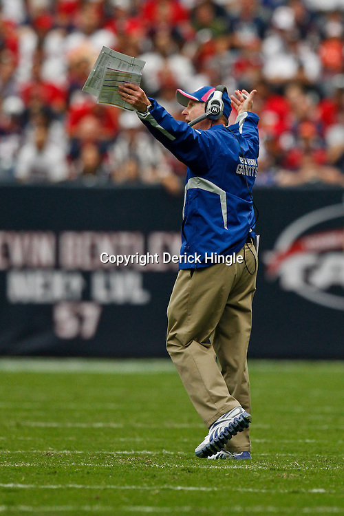 October 10, 2010; Houston, TX USA; New York Giants head coach Tom Coughlin on the sideline during the first half of a game against the Houston Texans at Reliant Stadium. Mandatory Credit: Derick E. Hingle