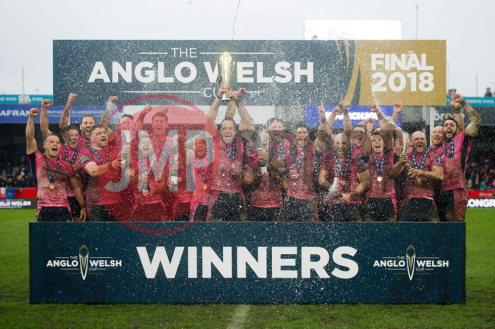 The Exeter Chiefs team celebrate as Kai Horstmann lifts the Anglo-Welsh Cup - Mandatory byline: Patrick Khachfe/JMP - 07966 386802 - 30/03/2018 - RUGBY UNION - Kingsholm Stadium - Gloucester, England - Bath Rugby v Exeter Chiefs - Anglo-Welsh Cup Final
