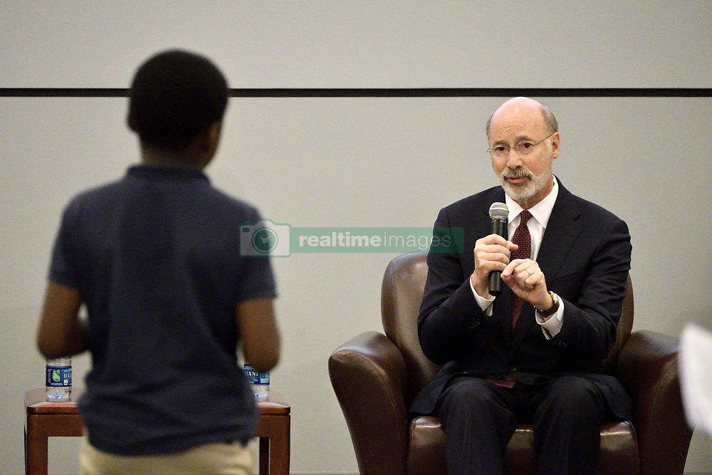 October 10, 2018 - Philadelphia, Pennsylvania, United States - Tom Wolf, Incumbent and Democratic candidate and Scott Wagner (not pictured), Republican candidate for the seat of Governor of Pennsylvania attend a student forum in Philadelphia, PA, on October 10, 2018. De event at the School District of Philadelphia headquarters is put up by the Rendell Center for Civics and Civic Engagement of former Governor Ed Rendell. (Credit Image: © Bastiaan Slabbers/NurPhoto via ZUMA Press)