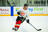 PENTICTON, CANADA - SEPTEMBER 8: Dillon Dube #59 of the Calgary Flames warms up during practice on September 8, 2017 at the South Okanagan Event Centre in Penticton, British Columbia, Canada.  (Photo by Marissa Baecker/Shoot the Breeze)  *** Local Caption ***