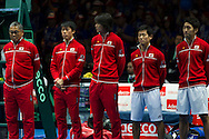 Kei Nishikori, Taro Daniel, Yoshihito Nishiok, Yautaka Uchiyama, Japans Minoru Ueda (Captain) pictured before the second day of the Davis Cup by BNP Paribas match between Great Britain and Japan at the National Indoor Arena, Birmingham, England.<br /> Picture by Anthony Stanley/Focus Images Ltd 07833 396363<br /> 05/03/2016