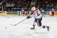 KELOWNA, CANADA - FEBRUARY 17: Gordie Ballhorn #4 of the Kelowna Rockets takes a slap shot from centre ice against the Spokane Chiefs on February 17, 2017 at Prospera Place in Kelowna, British Columbia, Canada.  (Photo by Marissa Baecker/Shoot the Breeze)  *** Local Caption ***