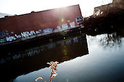 A view of the Gowanus Canal from the dead-end of 1st Street, Brooklyn.