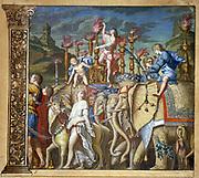 The triumph of Julius Caesar,  Andrea Andreani (1540-1623) Italian wood engraver.  Plate 5 from his 'Triumphus Caesari' c1598, after Andrea Mantegna (1431-1506) Italian artist. Elephants in triumphal procession.
