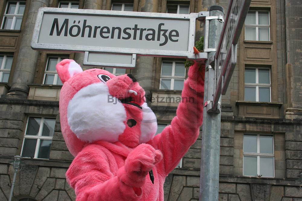 Berlin, Germany - 12.02.2009<br /> <br /> Protest organized by the &quot;Naturfreundejugend Berlin&quot; against the street name &quot;Mohrenstrasse&quot; in Berlin-Mitte. A pink rabbit renamed the street into Moehrenstrasse. &quot;The previous description (..) is a part of colonial history and a sign of racist continuity in the cityscape of Berlin. The term &quot;Mohr&quot; is not a neutral, it is a racist and devaluating identification of black people &quot;, reads a flyer of the protest.<br /> <br /> Protestaktion der Naturfreundejugend Berlin gegen den Strassennamen &rdquo;Mohrenstrasse&rdquo; in Berlin-Mitte. Ein pinker Hase benannte die Strasse um in die Moehrenstrasse. &bdquo;Die bisherige Bezeichnung (..) ist ein Teil kolonialer Geschichte und ein Zeichen rassistischer Kontinuit&auml;t im Stadtbild Berlins. Der Begriff &bdquo;Mohr&ldquo; ist kein neutraler Begriff, sondern eine rassistische und abwertende Kennzeichnung von Schwarzen Menschen&ldquo; heisst es hierzu in einer Flugblatt zur Protestaktion.<br /> <br /> Photo: Bjoern Kietzmann