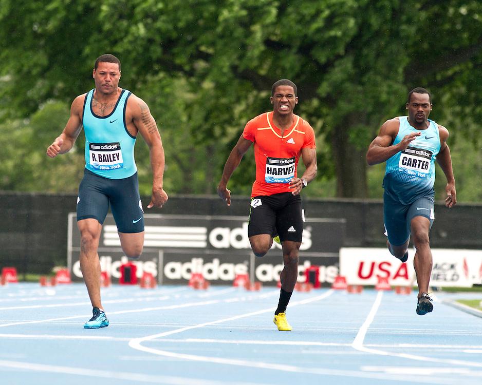 adidas Grand Prix Diamond League professional track & field meet: mens 100  meter final, Ryan Bailey, Jacques Harvey, Nesta Carter