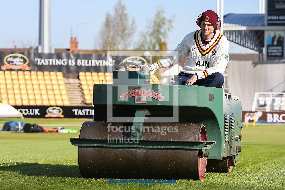 Groundstaff prepare the square before day two of the Friendly match at the County Ground, Northampton<br /> Picture by Andy Kearns/Focus Images Ltd 0781 864 4264<br /> 03/04/2017