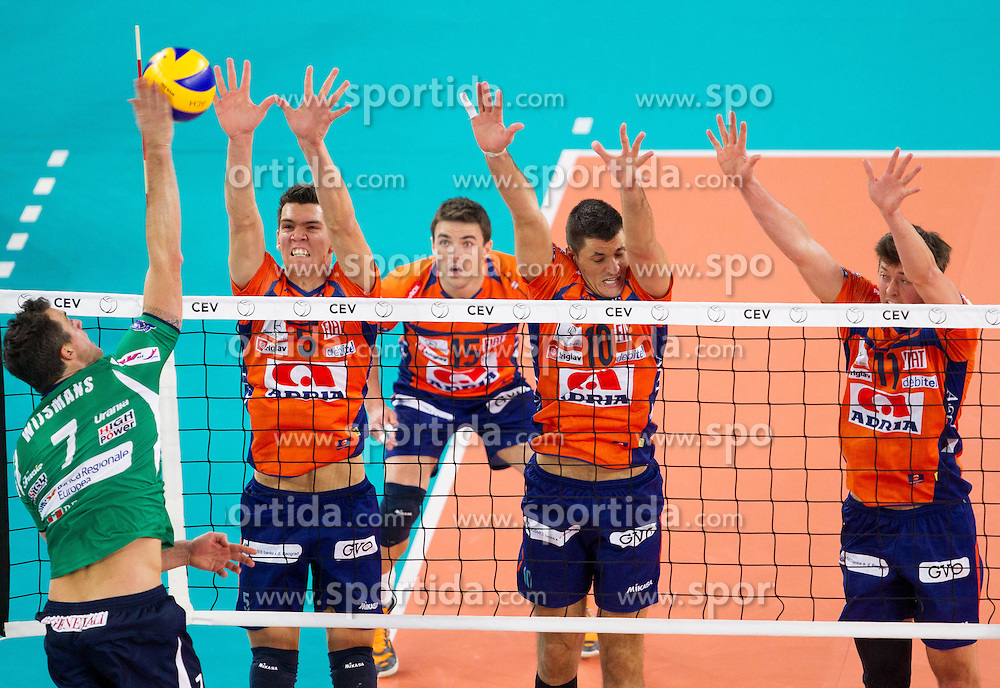 Wout Wijsmans of Cuneo vs Alen Sket of ACH, Borislav Petrovic of ACH and Jayson Jablonsky of ACH during volleyball match between ACH Volley Ljubljana and Bre Banca Lannutti Cuneo (ITA) in Playoff 12 game of CEV Champions League 2012/13 on January 15, 2013 in Arena Stozice, Ljubljana, Slovenia. (Photo By Vid Ponikvar / Sportida.com)