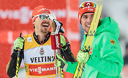 20.02.2016, Salpausselkae Stadion, Lahti, FIN, FIS Weltcup Nordische Kombination, Lahti, Team Sprint, Langlauf, im Bild v.l.: Fabian Riessle (GER), Johannes Rydzek (GER) // f.l.: Winnerteam Fabian Riessle of Germany and Johannes Rydzek of Germany celebrates during Cross Country Team Sprint Race of FIS Nordic Combined World Cup, Lahti Ski Games at the Salpausselkae Stadium in Lahti, Finland on 2016/02/20. EXPA Pictures © 2016, PhotoCredit: EXPA/ JFK