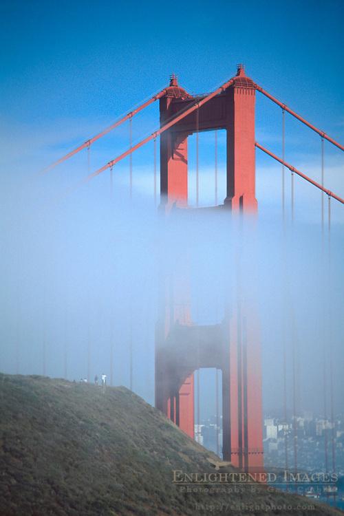 Golden Gate Bridge and fog, Marin Headlands, Golden Gate National Recreation Area, Marin County, California