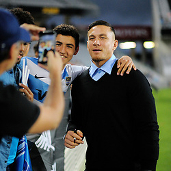 Injured Blues back Sonny Bill Williams is photographed by fans during the Super Rugby match between the Blues and Sharks at Eden Park in Auckland, New Zealand on Saturday, 31 March 2018. Photo: Dave Lintott / lintottphoto.co.nz