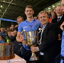 Mike Connelly Chairman Mayo Gaa presented the James Sweeney Cup to Westport captain Brian McDermott.<br />