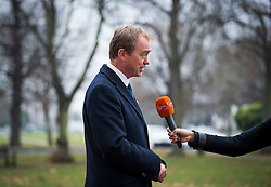 © Licensed to London News Pictures. 02/12/2016. London, UK. Liberal Democrat Leader TIM FARRON during a radio interview before he joins new MP for Richmond, SARAH OLNEY to celebrate their victory in the Richmond Park by-election. Zac Goldsmith resigned from the conservative party in order to force a by-election, in protest at government backing of the third runway at Heathrow airport. Photo credit: Ben Cawthra/LNP
