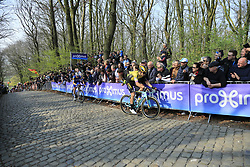 Wout Van Aert (BEL) Team Jumbo-Visma and Zdenek Stybar (CZE) Deceuninck-Quick Step on the 2nd ascent of the Kemmelberg during the 2019 Gent-Wevelgem in Flanders Fields running 252km from Deinze to Wevelgem, Belgium. 31st March 2019.<br /> Picture: Eoin Clarke | Cyclefile<br /> <br /> All photos usage must carry mandatory copyright credit (© Cyclefile | Eoin Clarke)