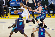 Golden State Warriors forward Kevin Durant (35) drives to the basket against the Charlotte Hornets at Oracle Arena in Oakland, Calif., on February 1, 2017. (Stan Olszewski/Special to S.F. Examiner)