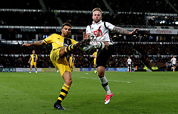 Johnny Russell of Derby County tackles Ryan Fredericks of Fulham - Mandatory by-line: Robbie Stephenson/JMP - 04/04/2017 - FOOTBALL - Pride Park Stadium - Derby, England - Derby County v Fulham - Sky Bet Championship