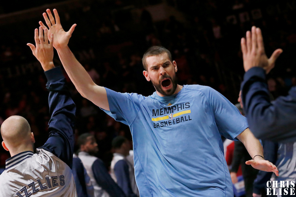 23 February 2015: Memphis Grizzlies center Marc Gasol (33) is seen during the players introduction prior the Memphis Grizzlies 90-87 victory over the Los Angeles Clippers, at the Staples Center, Los Angeles, California, USA.