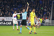 Yellow card Referee Victor Kassai and Rodrigo Hernández of Villarreal during the UEFA Europa League, Round of 32, 1st leg football match between Olympique Lyonnais and Villarreal on February 15, 2018 at Groupama stadium at Decines-Charpieu near Lyon, France - Photo Romain Biard / Isports / ProSportsImages / DPPI