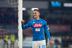 January 13, 2019 - Naples, Campania, Italy - Arkadiusz Milik of SSC Napoli seen celebrating a goal during the Serie A football match between SSC Napoli vs US Sassuolo at San Paolo Stadium. (Credit Image: © Ernesto Vicinanza/SOPA Images via ZUMA Wire)