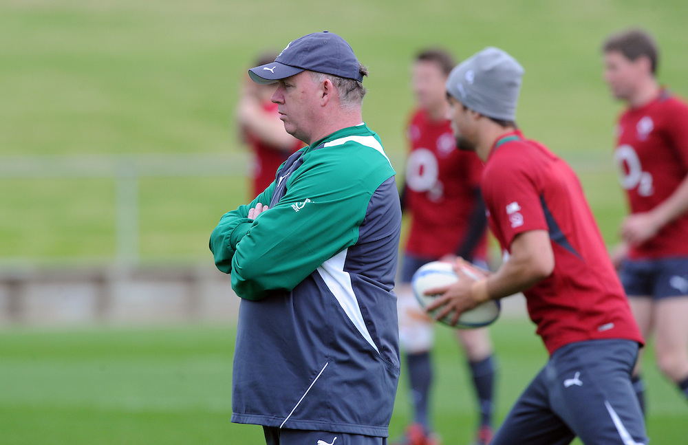 Coach Declan Kidney watches on at the Irish teams training for the three match test series against New Zealand, Onewa Domain, Auckland, New Zealand, Tuesday, June 05, 2012. Credit:SNPA / Ross Setford