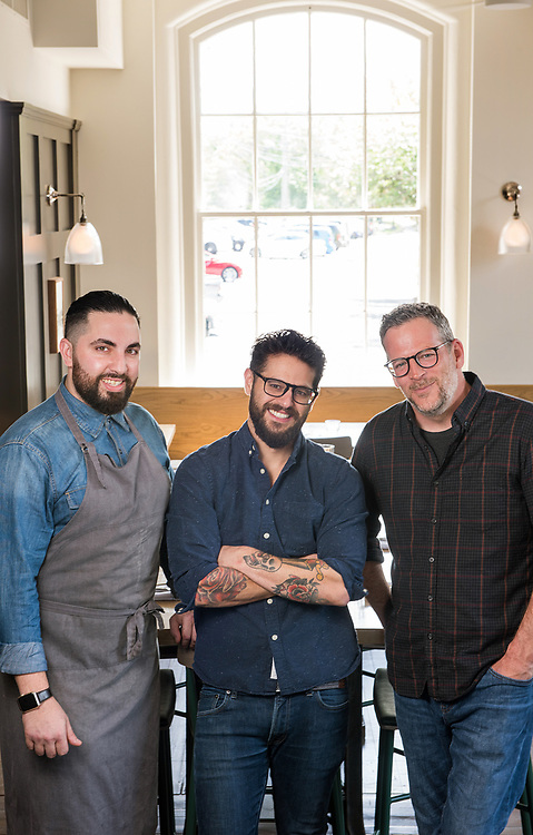 Photo by Mara Lavitt<br /> Westport, CT<br /> May 24, 2017<br /> Jesup Hall restaurant. Chef Daniel Sabia, left, beverage manager Craig Ventrice, center, owner Bill Taibe, right.
