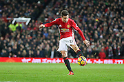 Ander Herrera Midfielder of Manchester United shoots at goal during the Premier League match between Manchester United and Middlesbrough at Old Trafford, Manchester, England on 31 December 2016. Photo by Phil Duncan.