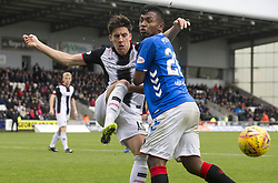St Mirren's Alfie Jones (left) clears from Rangers' Alfredo Morelos during the Ladbrokes Scottish Premier League match at St Mirren Park, St Mirren.