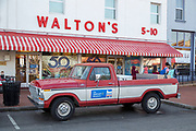 BENTONVILLE, AR - FEBRUARY 15:  Walton's 5-10 visitor center and Sam Walton's pickup truck on the square in downtown Bentonville, Arkansas.<br /> CREDIT Wesley Hitt for The Wall Street Journal<br /> WALMART-Bentonville Scene-setters