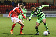 Forest Green Rovers Tahvon Campbell(25) on the ball during the EFL Sky Bet League 2 match between Crewe Alexandra and Forest Green Rovers at Alexandra Stadium, Crewe, England on 20 March 2018. Picture by Shane Healey.