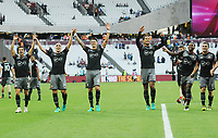 Football - 2016 / 2017 Premier League - West Ham United vs Southampton<br /> <br /> <br /> Southampton players celebrate after the match at the Olympic Park.<br /> l - r Cedric , Oriol Romeu , Jose Fonte , Virgil van Dijk , Coco Martina and Dusan Tadic.<br /> <br /> <br /> Credit : Colorsport / Andrew Cowie