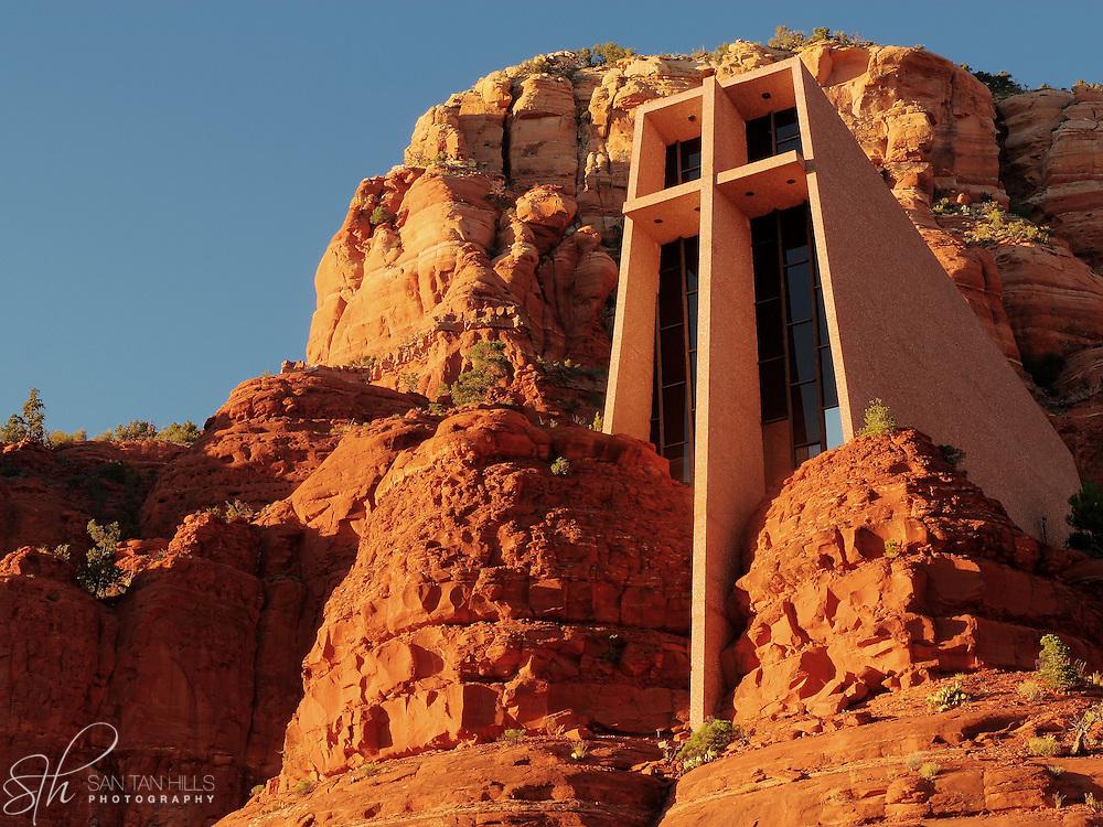 Chapel of the Holy Cross at sunset, Sedona, AZ