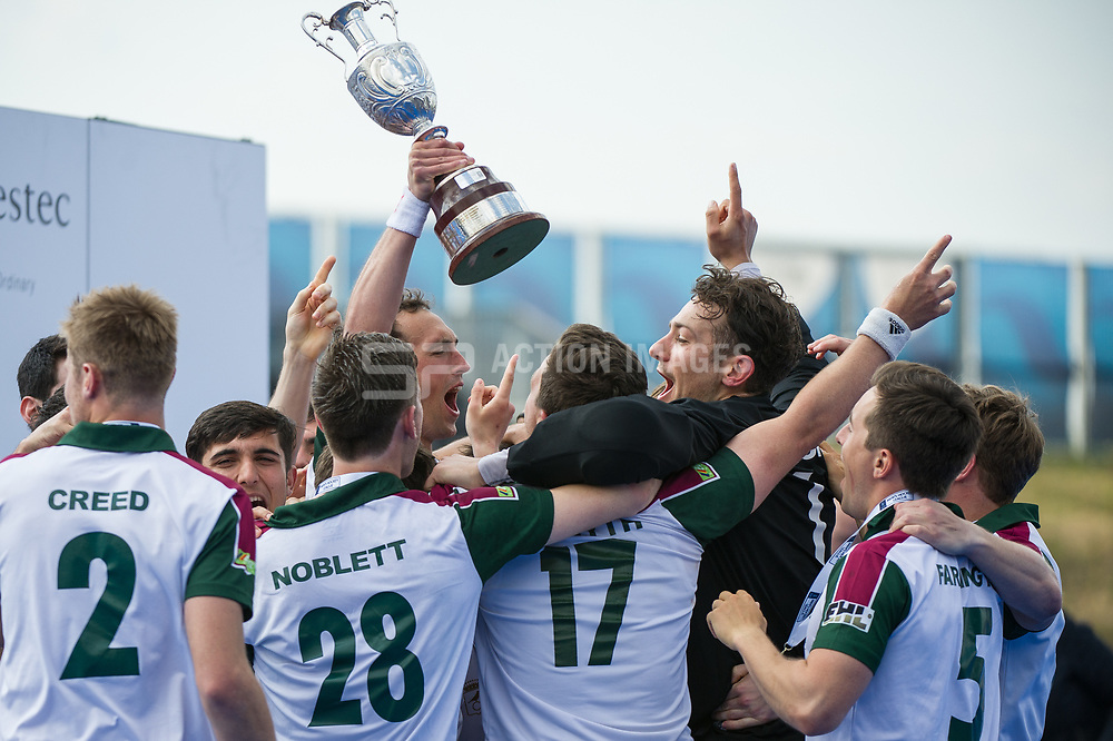 Surbiton celebrate with the trophy. Wimbledon v Surbiton - Men's Hockey League Final, Lee Valley Hockey & Tennis Centre, London, UK on 23 April 2017. Photo: Simon Parker